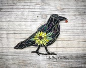 Standing Raven with Sunflower glass Mosaic