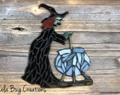 Witch with a cauldron glass mosaic