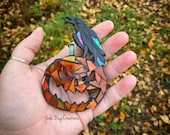 Raven on Jack-o'-lantern Pumpkin Glass Mosaic