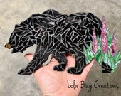 Bear with Fireweed glass Mosaic