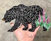 Bear with Fireweed glass Mosaic