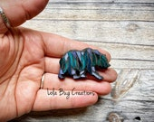 Mini teal and purple northern lights bear  -Glass Mosaic Magnet