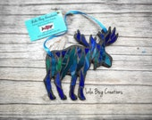 Northern Lights Moose Glass Mosaic