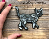 Cat glass mosaic magnet