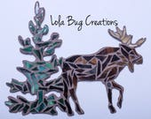 Moose in Trees Magnet and/or Hanging glass mosaic