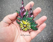 Fireweed and sunflower Glass mosaic