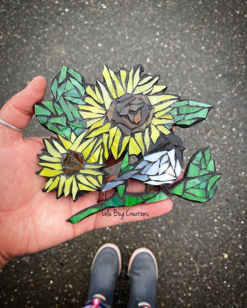 Chickadee wIth Sunflower glass Mosaic image 0