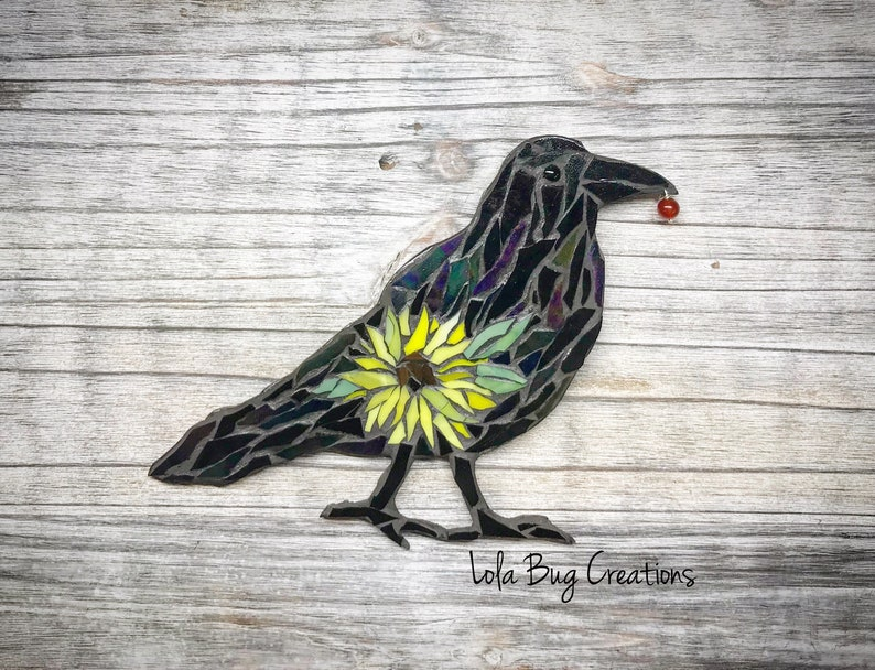 Standing Raven wIth a Sunflower Mosaic image 0