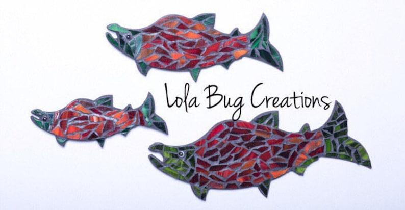 Salmon Mosaic  Mosaic Art  Glass Art glass mosaic image 0