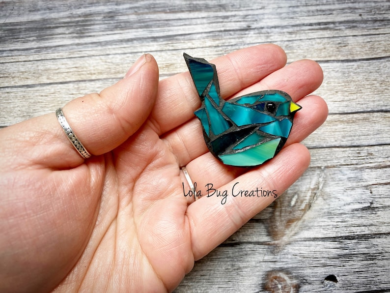Mini Bird  Glass Mosaic Magnet image 0