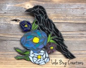 Raven in flowers glass mosaic