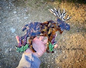 Moose with Fireweed glass Mosaic