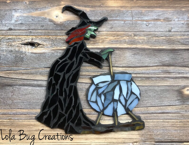 Witch with a cauldron glass mosaic image 0