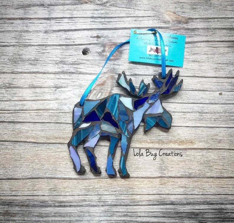 Multi Blue Colored Moose glass Mosaic image 0
