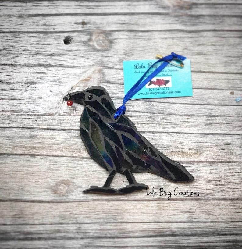 Perched Raven Glass Mosaic image 0