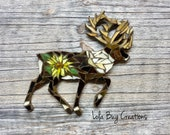 Caribou with Flower glass Mosaic