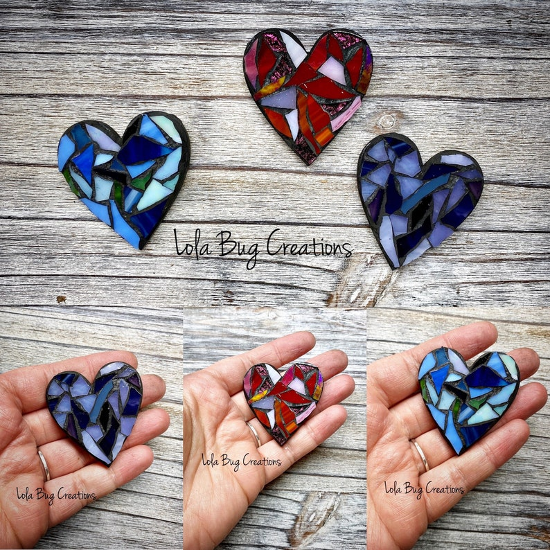 Mini Heart Glass Mosaic Magnet image 0