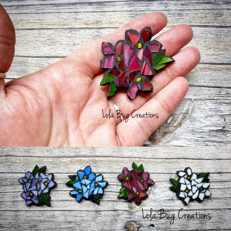 Mini Glass Mosaic Flower Magnet image 0