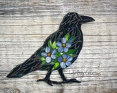 Standing Raven with Forget-me-nots glass Mosaic