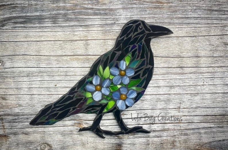 Standing Raven with Forget-me-nots glass Mosaic image 0