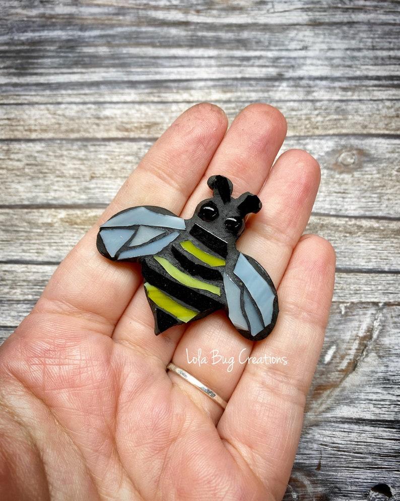 Mini Bee  Glass Mosaic Magnet image 0
