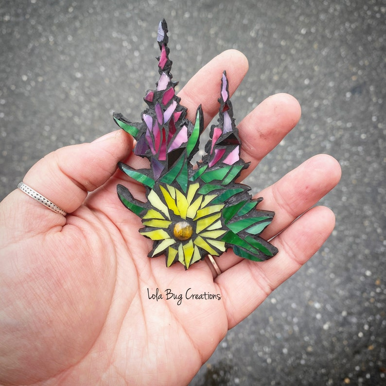 Fireweed and sunflower Glass mosaic image 0