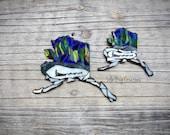 Northern Lights Alaska with dog mushing team mosaic glass