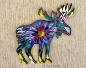 Tiedye moose glass Mosaic