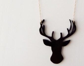 Black Deer silhouette Necklace, Perspex Necklace, Handmade Statement Necklace, Reindeer Necklace.