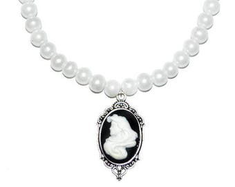 Ariel Cameo Pearl Neckace - Mermaid  Cameo Necklace - Disney Inspired