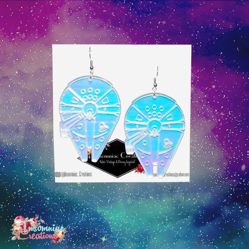 Star Wars Acrylic Earrings Hunk O/' Junk Iridescent Millennium Falcon Earrings