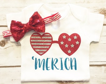 4th of July Baby Girl - Fourth of July - Red White and Blue - Patriotic Outfit - Merica - Independence Day -4th of July Shirt