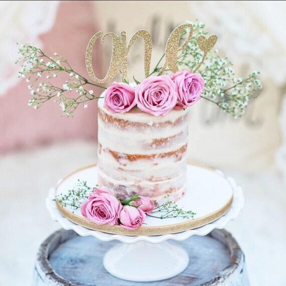 One Cake Topper First Birthday Girl Cake Topper Heart Etsy