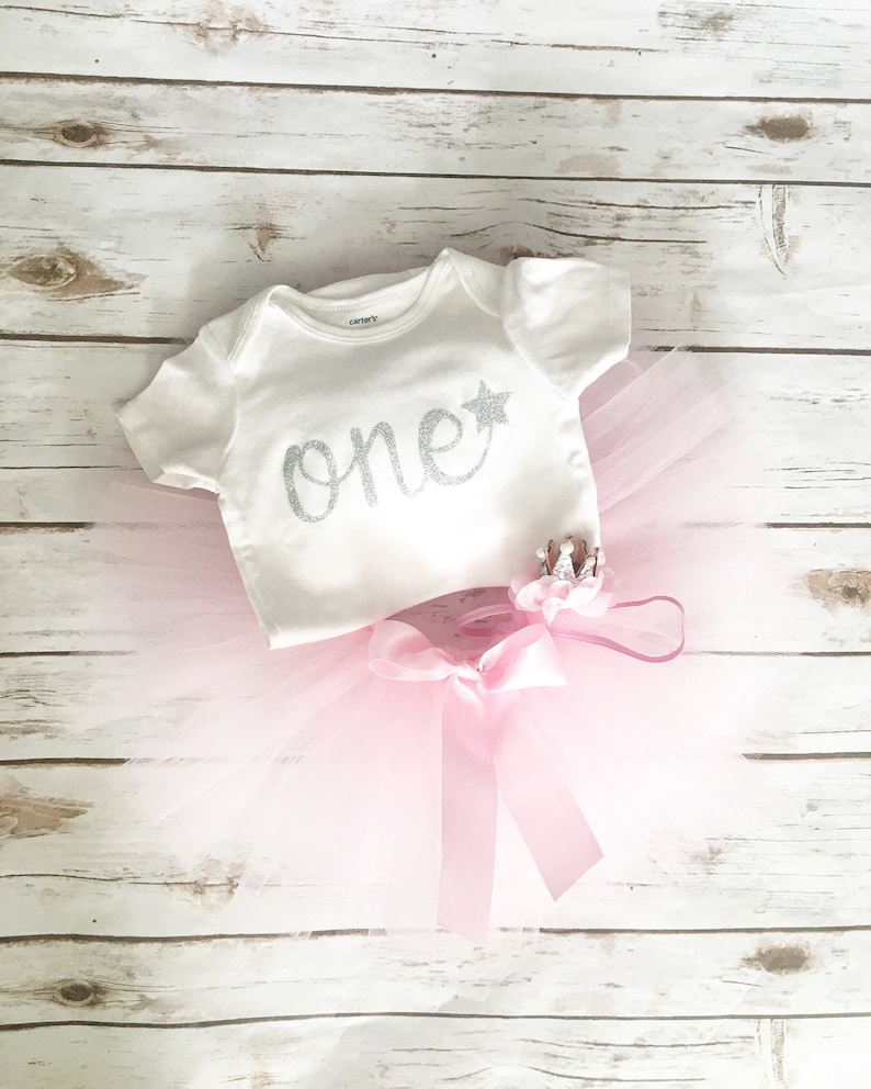 Birthday Bodysuit Twinkle Twinkle Little Star First Birthday Outfit Girl Pink and Silver Tutu First Birthday Dress