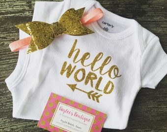 Baby Girl Coming Home Outfit - Hello World Outfit - Newborn Tutu - Newborn Outfit - Personalized Baby Outfit - Baby Shower Gift -