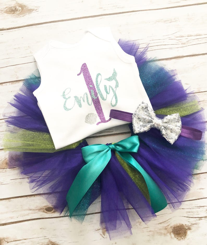 Mermaid First Birthday Outfit Tutu Under the Sea Cake Smash Mermaid Birthday Birthday Shirt One Cake Topper 1st Birthday