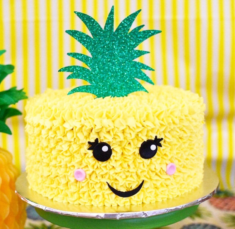 Pineapple Cake Topper  Luau Birthday  Summer Party  BBQ  image 0