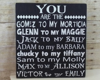 Halloween Sign, Halloween Wedding Sign, Anniversary Gift for Him,  Halloween Sign for Couples, Scary Movie Couples, Halloween Gift for Him,