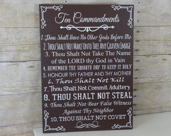 Ten Commandments Bible Verse Art - 10 Commandments Wood Sign - Exodus 20 Sign - Christian Art - Inspirational Art - Religious Home Decor