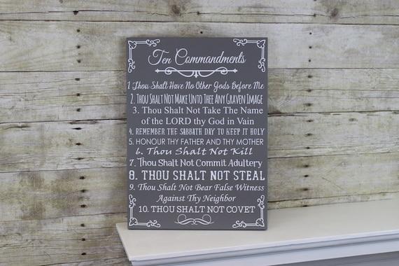 Ten Commandments Bible Wood Sign 10 Commandments Wall Art | Etsy
