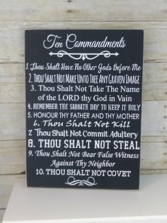 Religious Christmas Gift Ten Commandments Bible Wood Sign Etsy