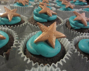 Edible Fondant Starfish or Sand Dollar Cupcake Toppers