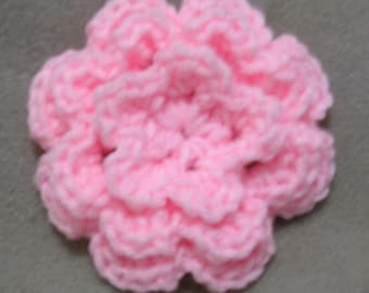 Pink Crocheted Flower Hairclip