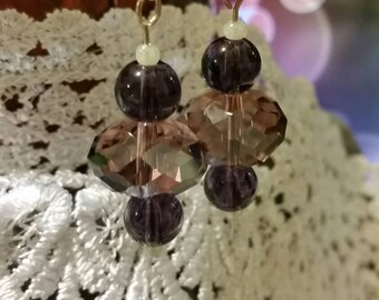 Purple Swarovski Crystal & Amethyst Earrings