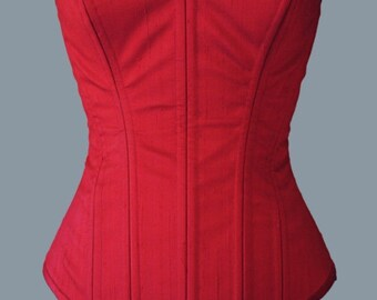 Red Silk Dupioni Overbust Steel Boned Corset