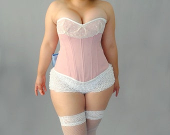 Pink and White Overbust Steel Boned Corset