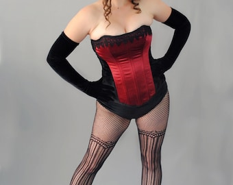 Black and Red Overbust Steel Boned Corset