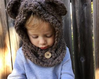 Chunky knit ewok hood. Photo prop. Baby-adult sizes.