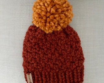 children's rustic beanie with pompom
