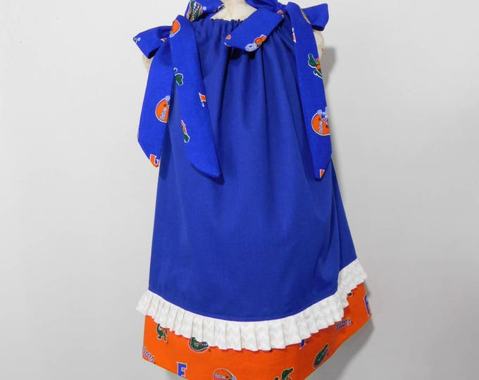 BOUTIQUE PILLOWCASE DRESS / Florida Gator Blue